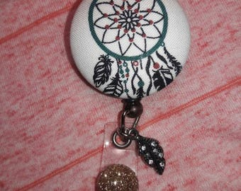 Native Dream Catcher Button I.D. Badge Reel