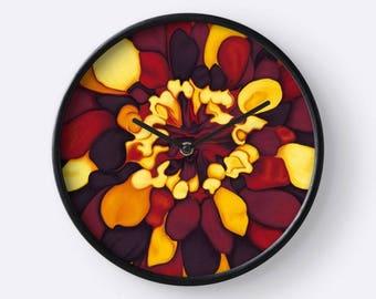 Wall clock orange flower