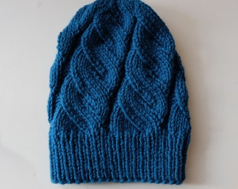 Women's Knit Hat / Deep turquoise Knitted hat / Handmade hat