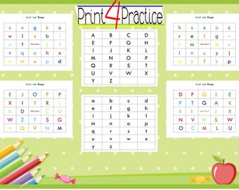 alphabet bingo, matching game, recognizing uppercase and lowercase letters, learning game, kids fun activity, kindergarten game, bingo