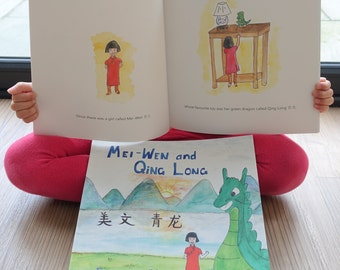 Mei-Wen and Qing Long - Signed Children's Book - Bilingual English and Chinese Mandarin Book - Picture Book - Kids Book