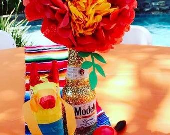 Fiesta Wedding/Birthdays/Events: Centerpieces/Decorations Glitter Mexican Beer Bottles-Set of 6