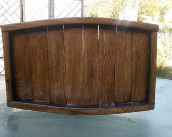 Wood Barrel Serving Tray
