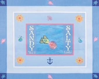 Sandy Toes and Salty Kisses kitchen decorative mat indoor/outdoor