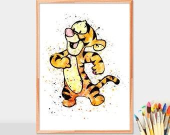 Baby tigger, Winnie Tigger, Disney Tigger, Watercolor Winnie Tigger, winnie the pooh tigger, nursery wall art, winnie the pooh print
