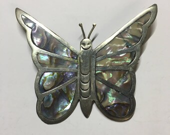 Silver toned Mother of Pearl Butterfly Brooch