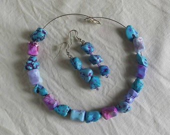 Rock earrings and necklace