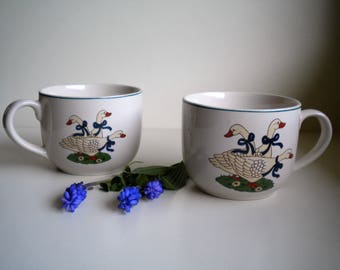 Keramikhäferl with a great motif: 3 geese, 70s - set 2 PCs