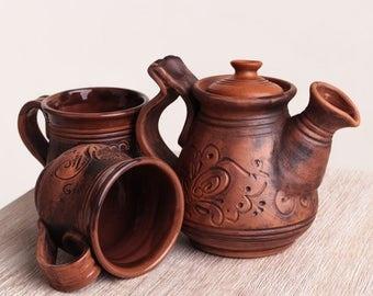Tea set, ceramic teapot mugs, pottery, stoneware, handmade large ceramic pot, rustic pot, clay pot, eco friendly, housewarming gift