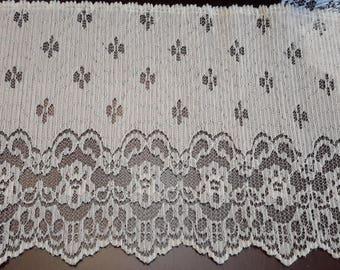"""Lace Trim Creme 6 1/4"""" wide x 62"""" , sewing trim, lace trim, wide trim, craft lace trim"""