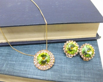 Absolutely Stunning Aurora Borealis Necklace and Clip-On Earring set