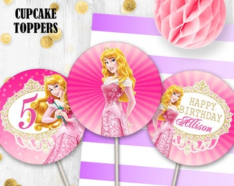 Sleeping Beauty toppers Princess Aurora Birthday Cupcake toppers Cake toppers Disney princess party decor