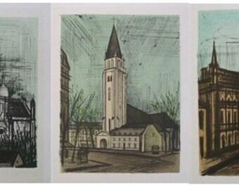 Bernard BUFFET - 3 prints - Monuments - 1967 #MOURLOT