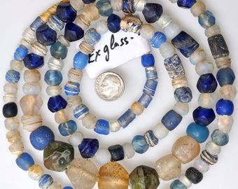 Extra Long 44 Inch Strand of Mixed Excavated Glass Beads - Vintage African Trade Beads - EXGlass26