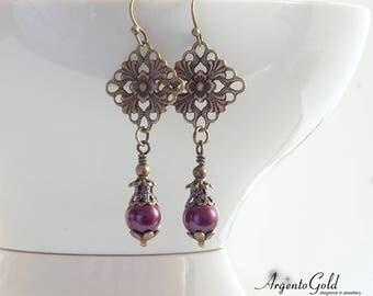Tudor Jewellery, Edwardian Jewellery, Vintage Earrings, Bronze, Swarovski, Wedding Gift, UK, Elegant Earrings, Gift, Victorian Jewellery,