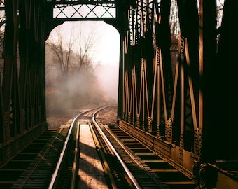 Photography print trestle train tracks landscape sunrise dawn foggy