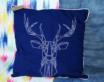 Embroidered Indigo cushion with deer head pattern, Ecru piping