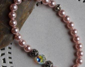 Rosaline Swarovski crystal pearls and AB crystal bracelet, antique silver melon bead, silver casbah beads, elastic bead cord,  B036