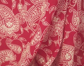 Paisley Petal Fabric  Cranberry Red