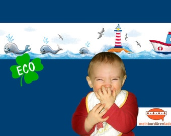 ECO kids trim: whales. Lighthouse - borders for children, border for allergy sufferers, wall border, nonwoven, wall trims sailing ship
