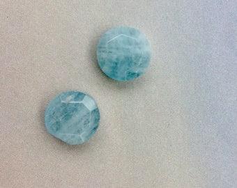 2 Aquamarine Beads, 13mm, Coin Shape Beads, Genuine Aqumarine, Blue Gemstone, Aquamarine Earrings, Aquamarine Pendant