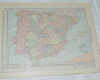 1915 Antique Map Spain and Portugal