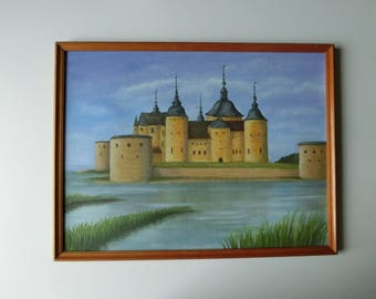 "New ""Squid"" cm 30 x 40 oil painting Sabine Neubarth Wamono original landscape House Castle"