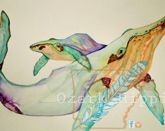 Always ~  12 x 18  Original Watercolor. Mama and Baby whales. Multicolored, Purples and Oranges and Blue hues.