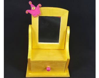 Princess jewelry box gold with mirror