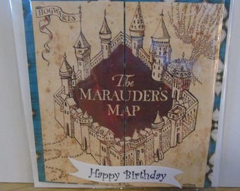 Handmade Harry Potter Inspired The Marauders Map Birthday Card  - Ravenclaw