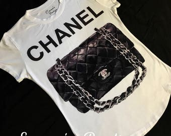 Fun Black Chanel Women's inspired FASHION Tshirt