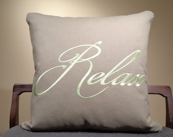 Relax Pillow, Relax Pillow Cover, Embroidered Pillow with saying, Word pillow, Pillow with Quote, Modern Home Decor, Text pillow
