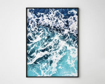 Ocean Wave Print, Ocean photography, Waves, Coastal print, Blue Sea, Shades of Blue, Scandinavian Design Print, Nordic Design Wall Art