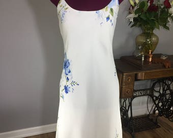 Vintage 1990s Jessica Semi-Sheer White Shift Dress with Blue Flowers - spaghetti straps - by Jessica, Canada