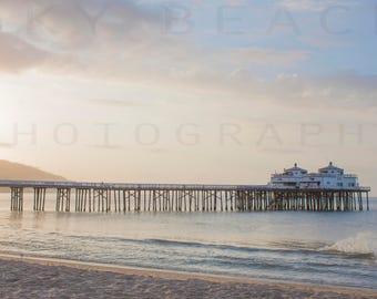 Malibu Pier Large Beach Print Sunrise Ocean Waves California Pacific Coast Highway Canvas Fine Art Photograph Beige Blue Popular Unique
