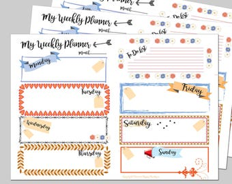 A5 Weekly Planner Pages printable to fit all A5 Planners. Calendar, Printable Inserts,Weekly Agenda, Planner Insert. A5 Weekly Organizer