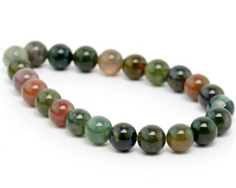 "6MM Sanctuary Indian Agate Natural Gemstone Round Shape Half Strand Loose Beads 7.5"" (100150h-262)"