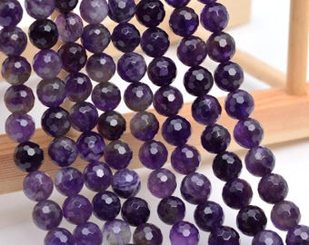 "6MM Faceted Amethyst Natural Gemstone Full Strand Round Loose Beads 15"" (100850-325)"