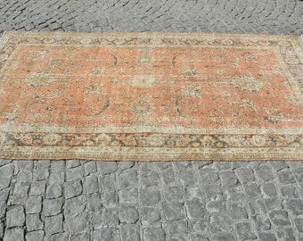 Orange and Beige Ushak Rug, Turkish Handmade Oushak Carpet, Vintage Overdyed Rug, Size is (283 cm x 142 cm)  9,2 feet x 4,6 feet model: 777