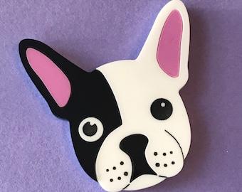 French Bulldog Brooch - Plastic Jewellery - Dog Brooch - Frenchie - acrylic brooch - Laser cut acrylic
