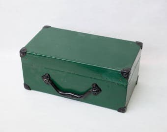 Antique wooden box with fitting on the corners / iron handle / storage box / trunk or tool box