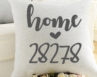 Home Zip Code Pillow-Personalized, Engagement, Wedding, Housewarming, Home, Anniversary, Farmhouse, Zip code, New Home,