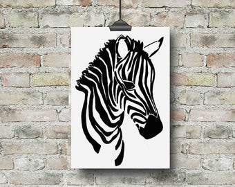 Zebra Print, Zebra Nursery, Zebra Gift, Jungle Nursery Art, Safari Nursery, Safari Animal Print, Kids Art, Kids Print