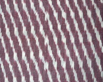 Maroon and White Ikat Fabric, Ikat Upholstery Fabric, Indian Ikat Fabric, Handwoven Ikat for cushion covers, Handloom Ikat Cotton Fabric