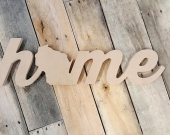 """24"""" Wisconsin Home Unfinished Cutout Typography Sign MM-0049"""