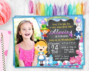 Alice in Wonderland Photo card Alice Birthday photo invitation invite