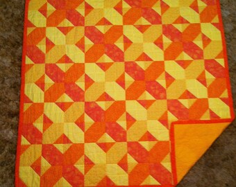 """60"""" x 60"""" Yellows and Oranges X's or O's Homemade Quilt"""
