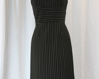 Pinstripe Pencil Dress with Satin