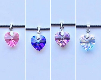Swarovski crystal heart choker necklace