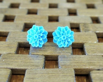 Bright Blue Dahlia Flower Stud Earrings
